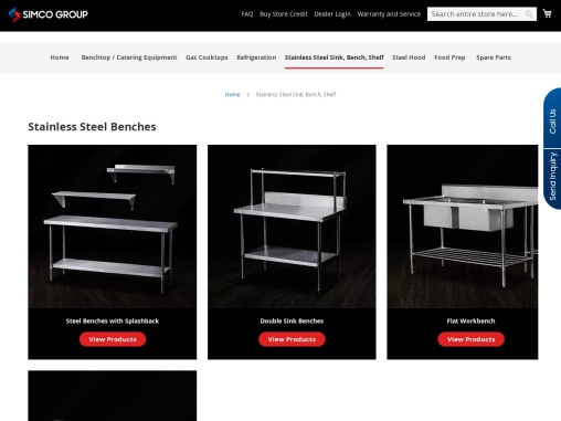 Stainless Steel Benches, Sinks, Shelf