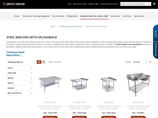 Stainless Steel Benches with Splashback Supplier Across Australia