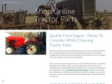 Quality Farm Supply – Points To Consider While Choosing Tractor Parts