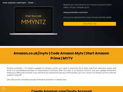 amazon.com/mytv- Enter activation code to watch your favorite content
