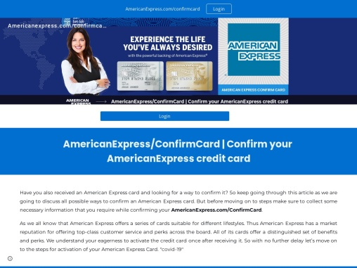 How can I go to the confirmation page for my American Express Card?