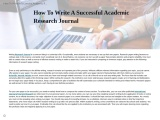 How To Write A Successful Academic Research Journal