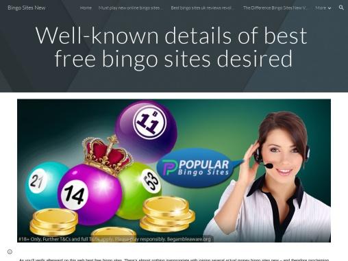 Well-known details of best free bingo sites desired