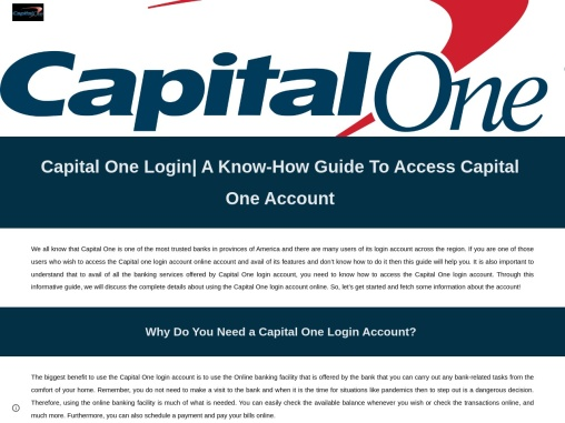 Why Do You Need a Capital One Login Account?