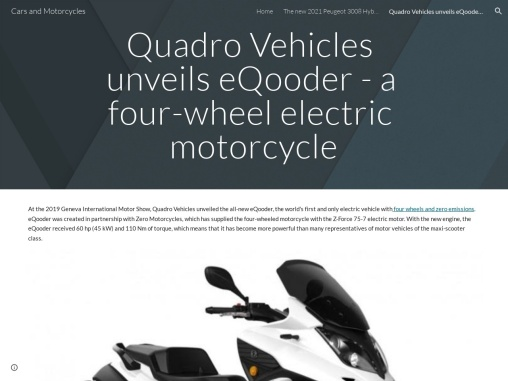 Quadro Vehicles unveils eQooder – a four-wheel electric motorcycle