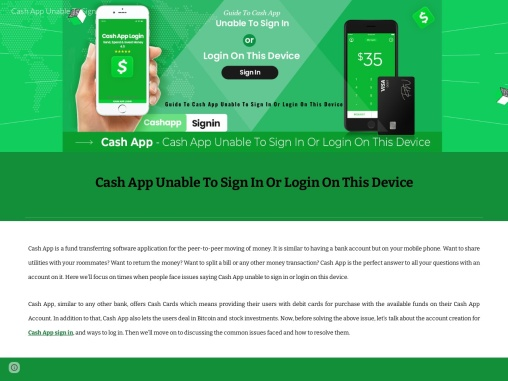 Guide to Cash App unable to sign in or login on this device