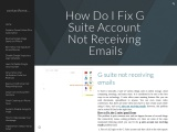 How Do I Fix G Suite Account Not Receiving Emails?