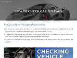 How to Check my Car Mileage online