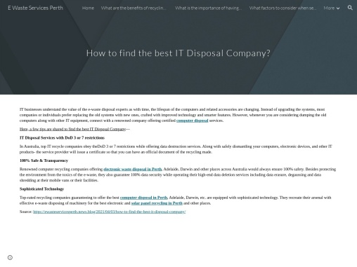 How to find the best IT Disposal Company?
