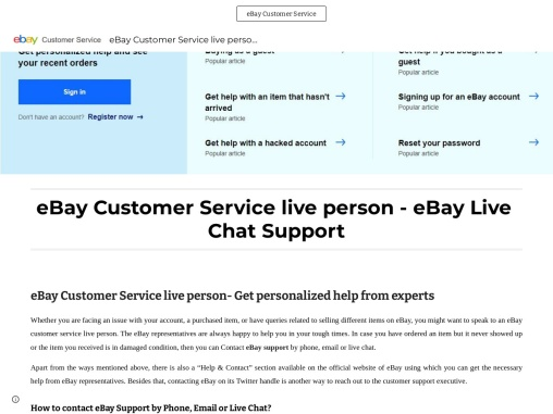 eBay Customer Service live person – eBay Live Chat Support