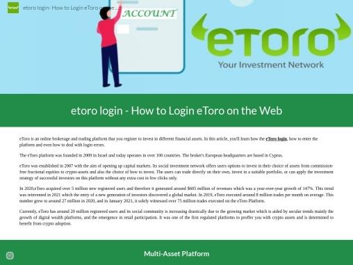 eToro Login and eToro fees for deposit adn withdrawal