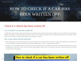 Check if car is written off free