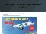 How to book Last Minute Flights on Frontier Airlines?