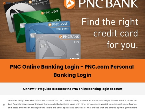 A BRIEF GUIDE TO PNC ONLINE BANKING