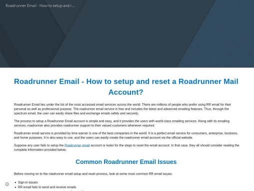 Roadrunner Email – How to setup and reset a Roadrunner Mail Account