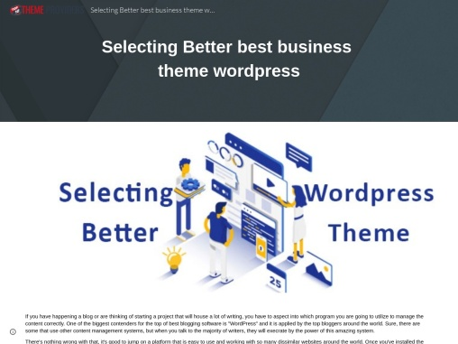 Selecting Better best business theme wordpress