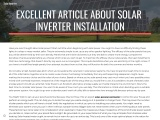EXCELLENT ARTICLE ABOUT SOLAR INVERTER INSTALLATION