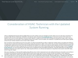 Consideration of HVAC Technician with the Updated System Running