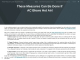These Measures Can Be Done If AC Blows Hot Air!