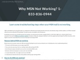 Why MSN is not Working? 1-833-836-0944