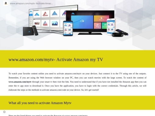 How to Activate amazon.com/mytv on your devices