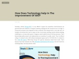 How Does Technology help In The Improvement Of SEO?