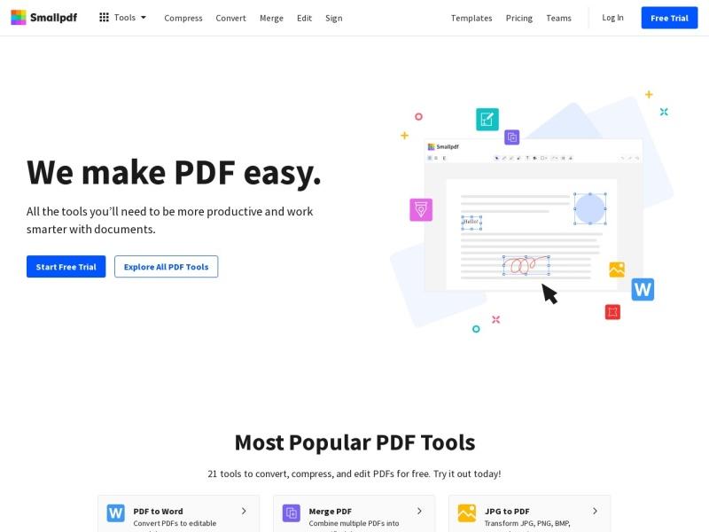 Smallpdf.com | PDFを最適化したり、パワーポイントやエクセル、画像等に変換出来るウェブサービス