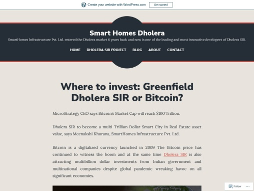 Where to Invest – Greenfield Dholera SIR or Bitcoin?