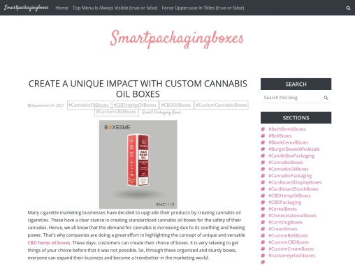 Create A unique impact with custom Cannabis oil boxes