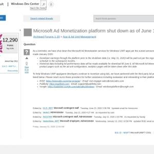 Microsoft Ad Monetization platform shut down as of June 1st