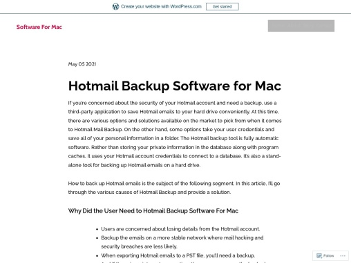 Hotmail Backup Software for Mac