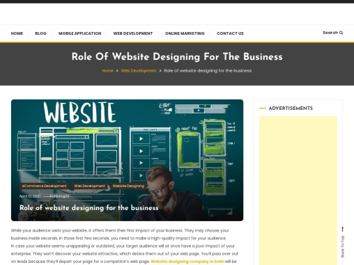 Role of website designing for the business