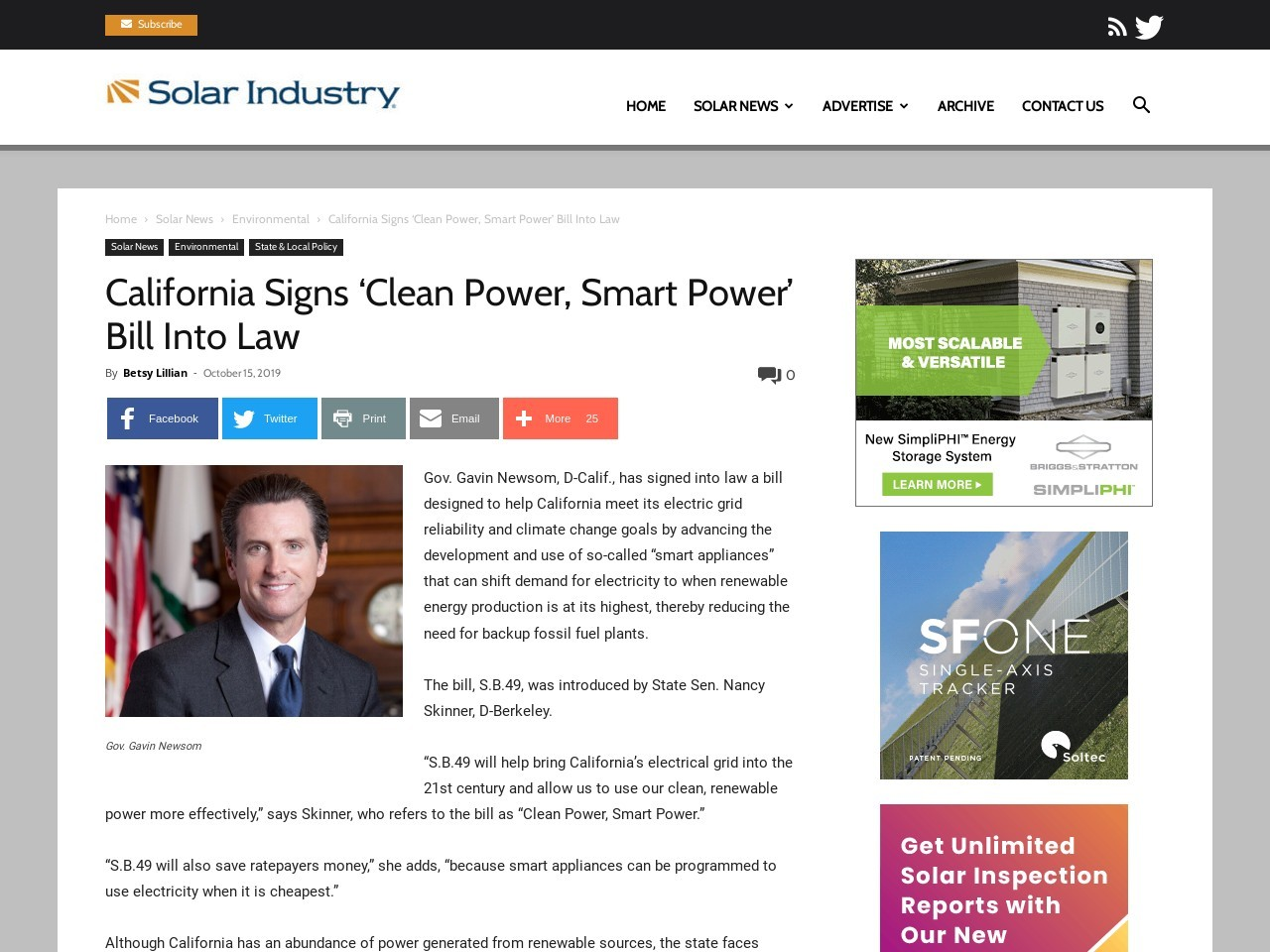 California Signs 'Clean Power, Smart Power' Bill Into Law