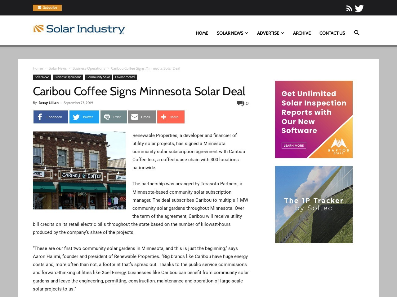 Caribou Coffee Signs Minnesota Solar Deal