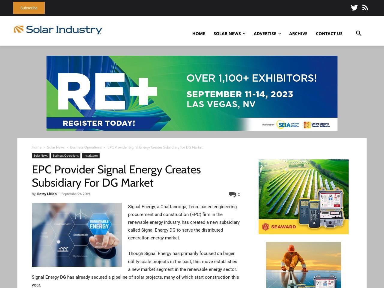 EPC Provider Signal Energy Creates Subsidiary For DG Market