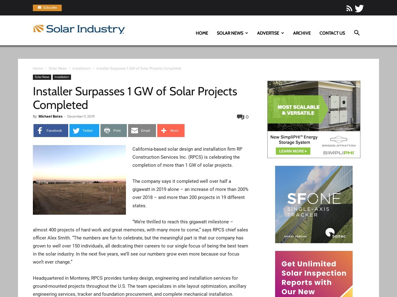 Installer Surpasses 1 GW of Solar Projects Completed