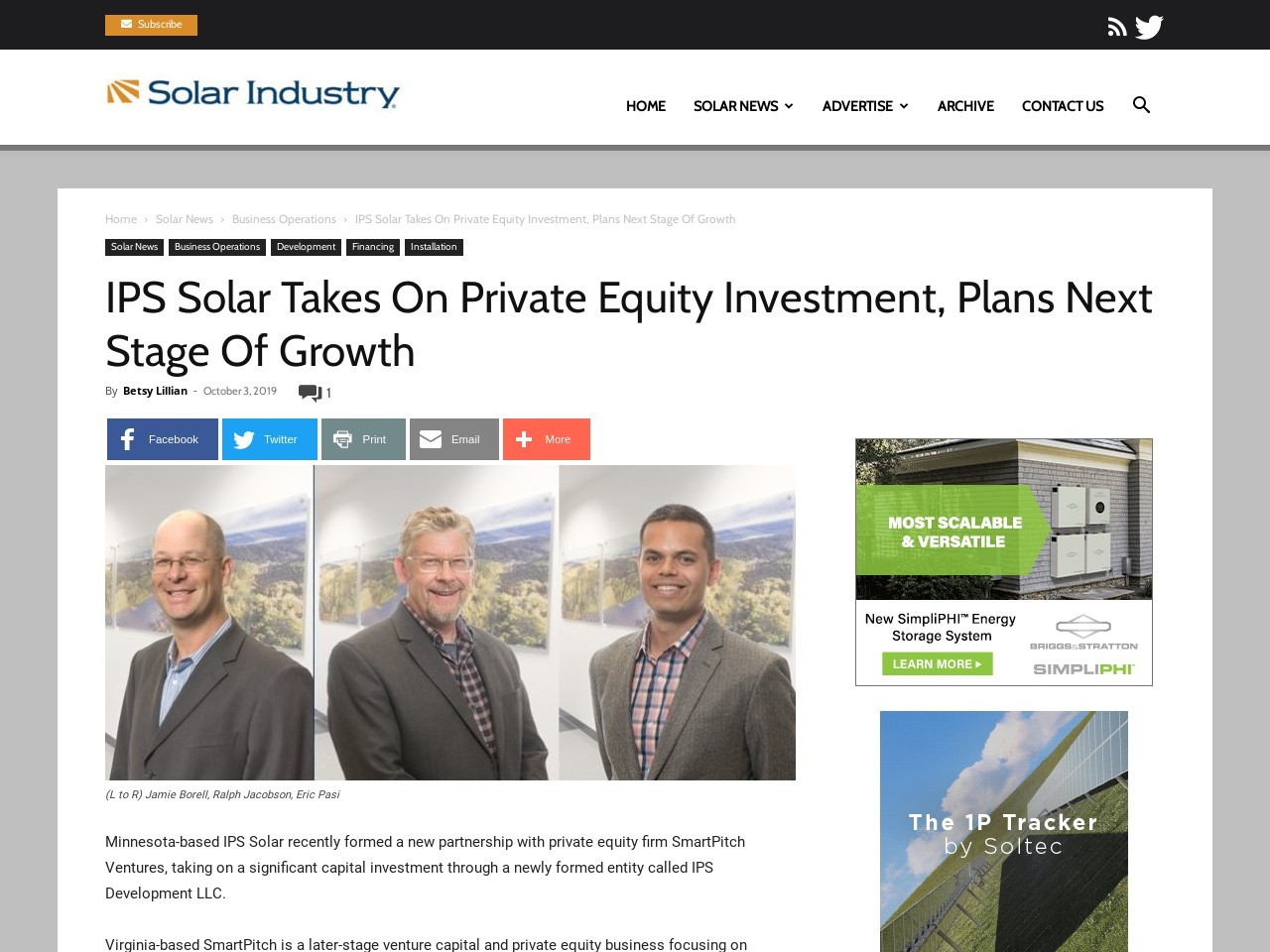 IPS Solar Takes On Private Equity Investment, Plans Next Stage Of Growth