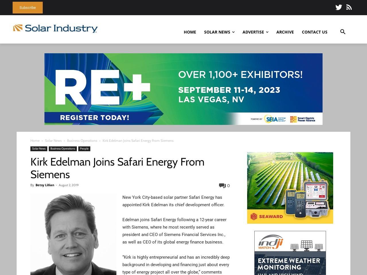 Kirk Edelman Joins Safari Energy From Siemens