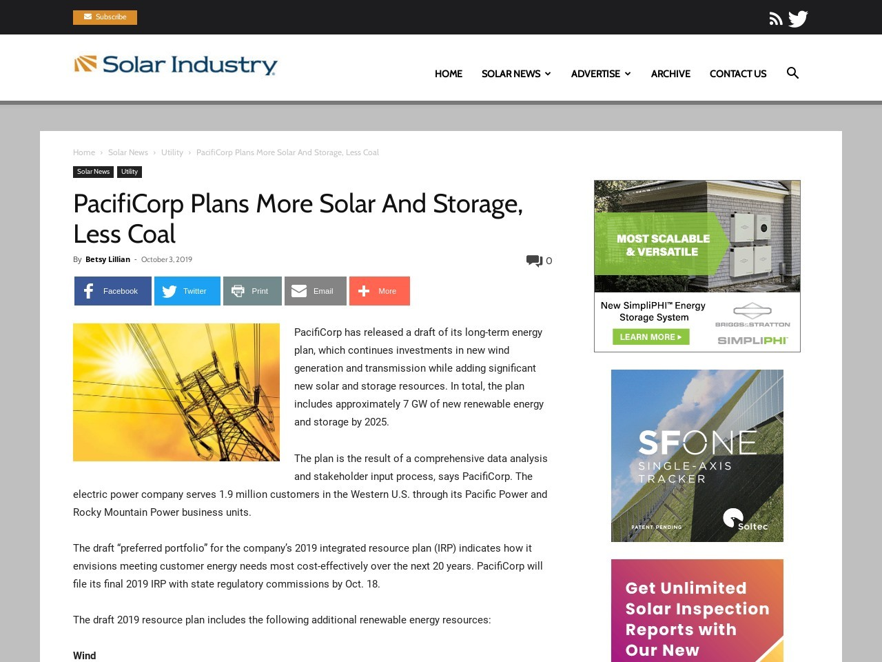 PacifiCorp Plans More Solar And Storage, Less Coal