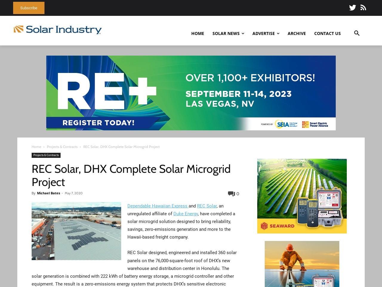 REC Solar, DHX Complete Solar Microgrid Project