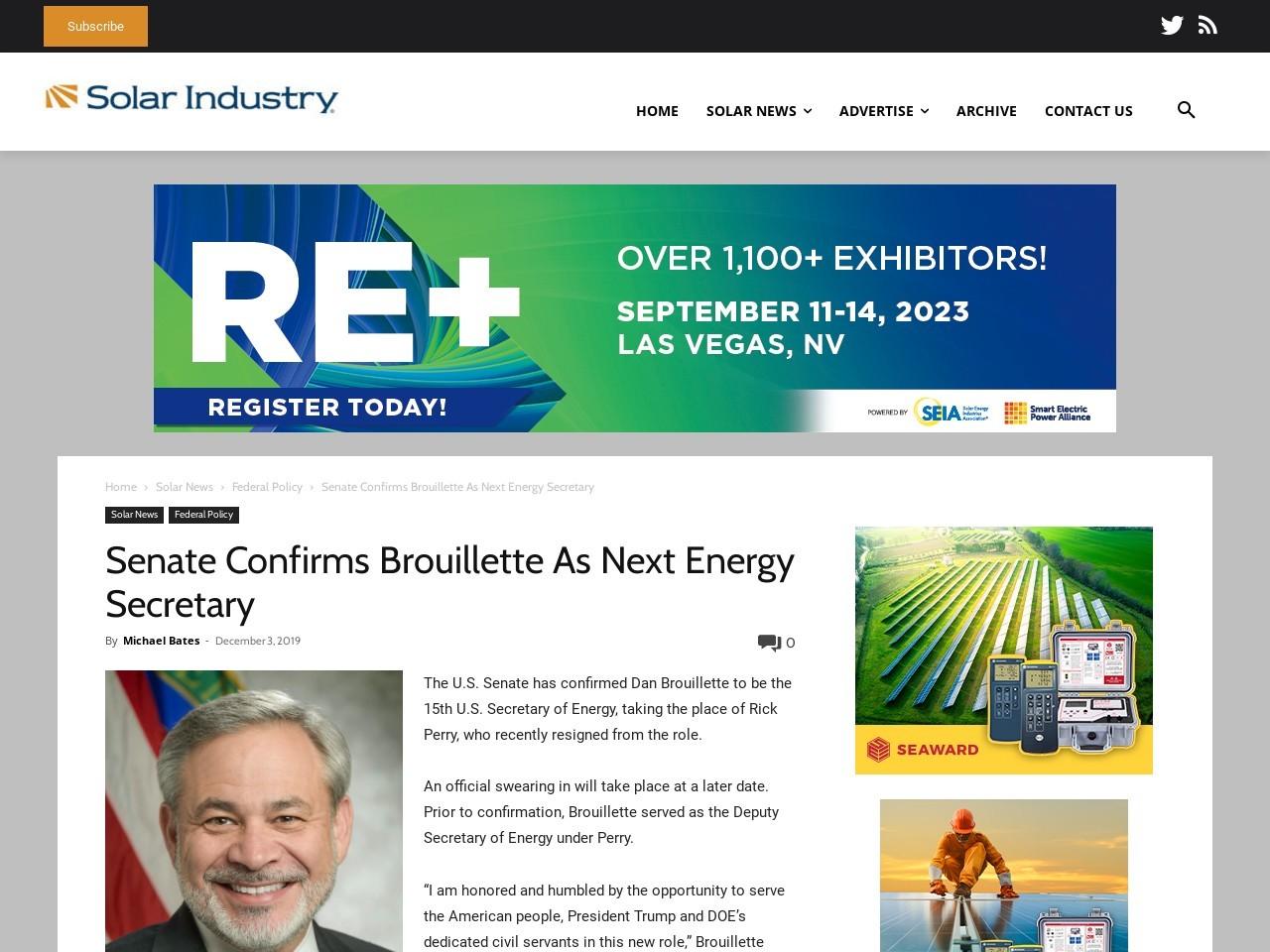 Senate Confirms Brouillette As Next Energy Secretary