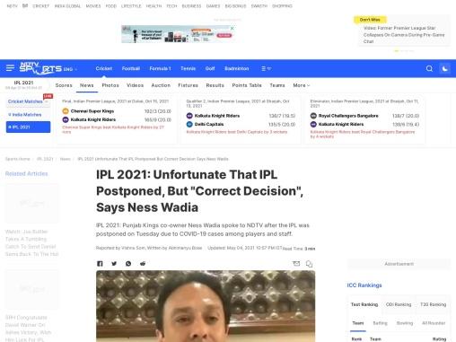 Ness Wadia Latest News : IPL Postponed-Correct Decision says Ness Wadia