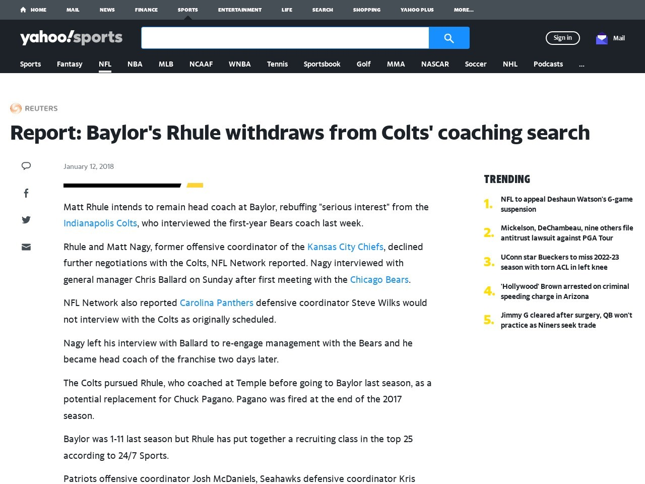 Report: Baylor's Rhule withdraws from Colts' coaching search