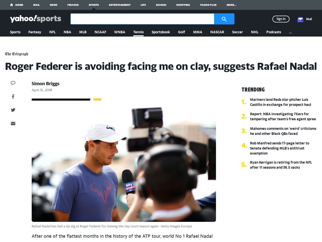 Roger Federer is avoiding facing me on clay, suggests Rafael Nadal