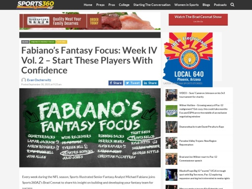 Fabiano's Fantasy Focus: Week IV Vol. 2 – Start These Players With Confidence