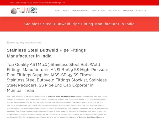 Stainless Steel Buttweld Pipe Fitting Manufacturer