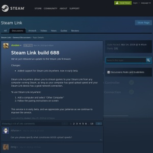Steam Link beta build 688 :: Steam Link General Discussions