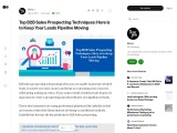 Top B2B Sales Prospecting Techniques: Here is to Keep Your Leads Pipeline Moving