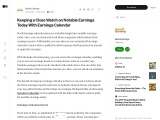 Keeping a Close Watch on Notable Earnings Today With Earnings Calendar