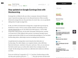 Stay updated on Google Earnings Date with Stockearning